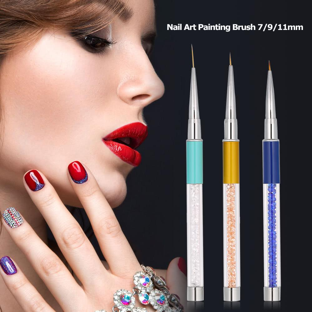 3pcs Nail Art Painting Brush 7/9/11mm Crystal Acrylic Nail Art Liner Pen UV Gel Painting Line Brush Nylon Hair Pen Manicure Nail Liner Tool