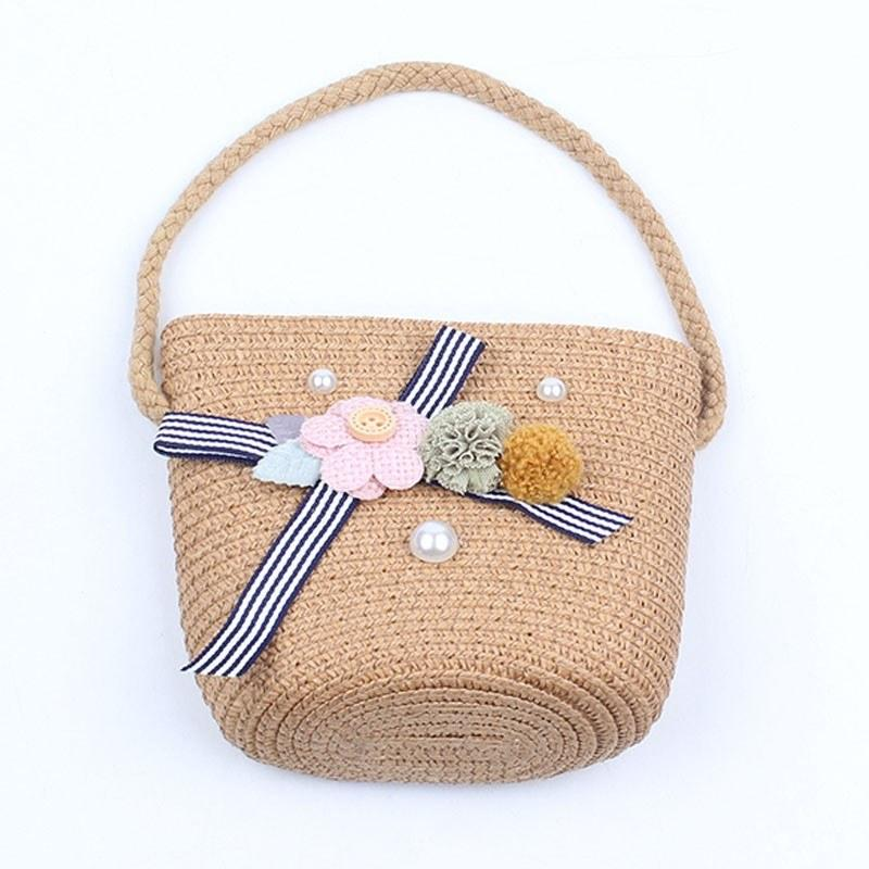 Girls Hand Woven Bag Flower Bowknot Beads Handbag Rattan Straw Children Kids Bohemian Crossbody Bags Tote
