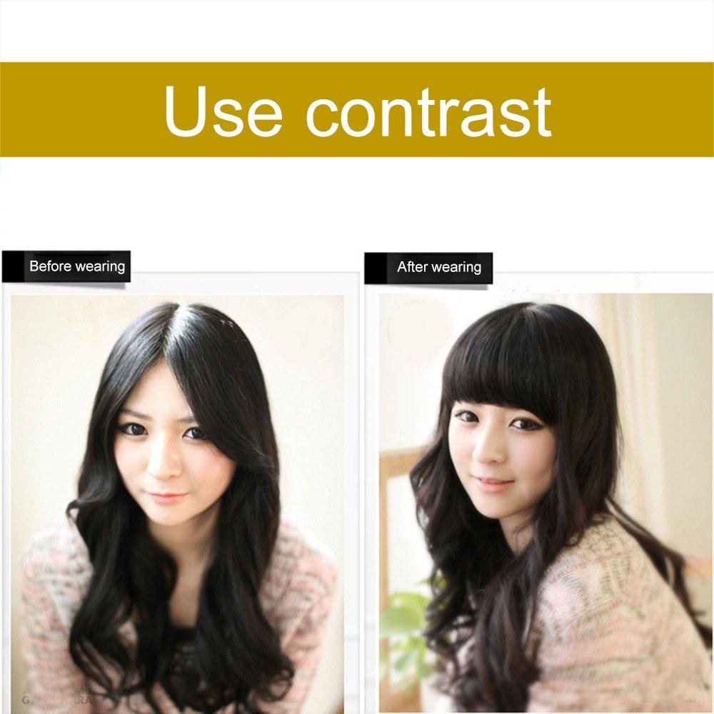 Girl Front Neat Bangs with Clip in Bang Fringe Hair Extensions Women Straight Natural Hairpiece