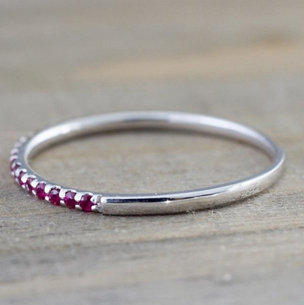 New inlaid sapphire ring for cross-border European and American ruby red corundum tail ring jewelry
