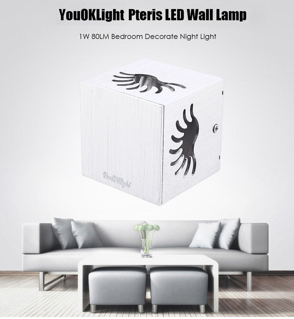 YouOKLight YK2236 1W 80LM Pteris LED Wall Lamp Bedroom Night Light
