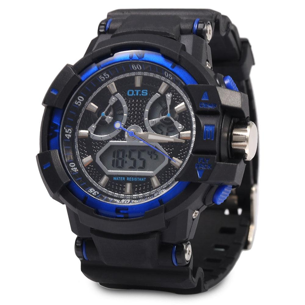 OTS 8061 Men LED Digital Luminous Analog Quartz Watch Outdoor Sport Dual Movt Wristwatch