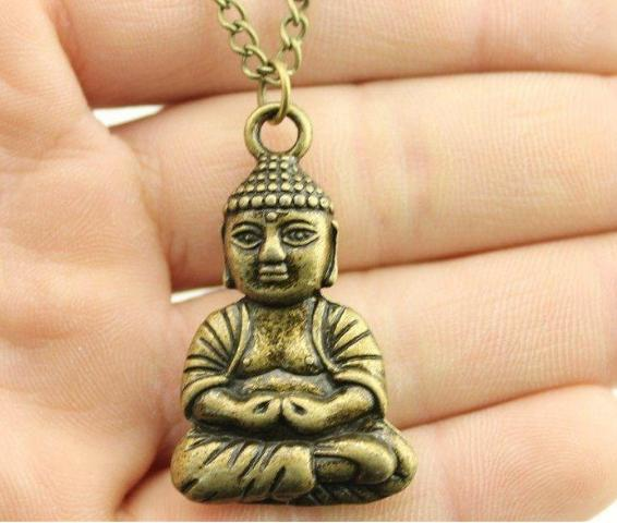 Men and women's fashionable sweater chain long pendant Buddha Pendant Korean version simple necklace