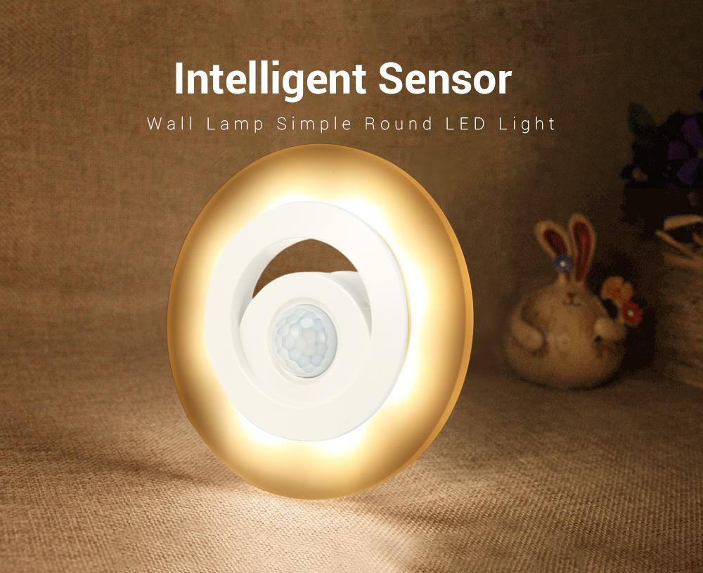 Intelligent Sensor Human Body Light Induction Wall Lamp Simple Round LED 80LM