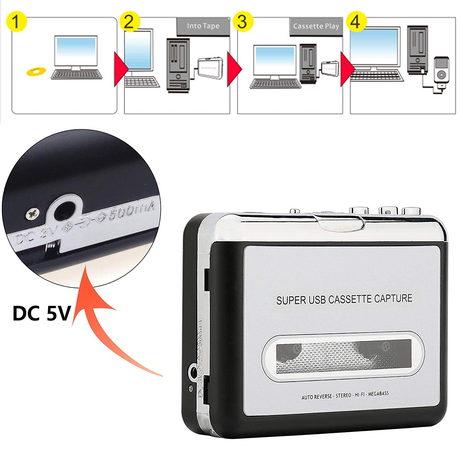 Cassette to MP3 Player Converter