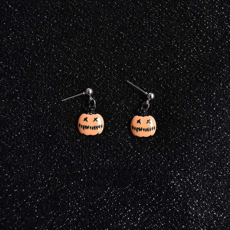 Halloween funny earrings personalized pumpkin pearl earrings wild creative