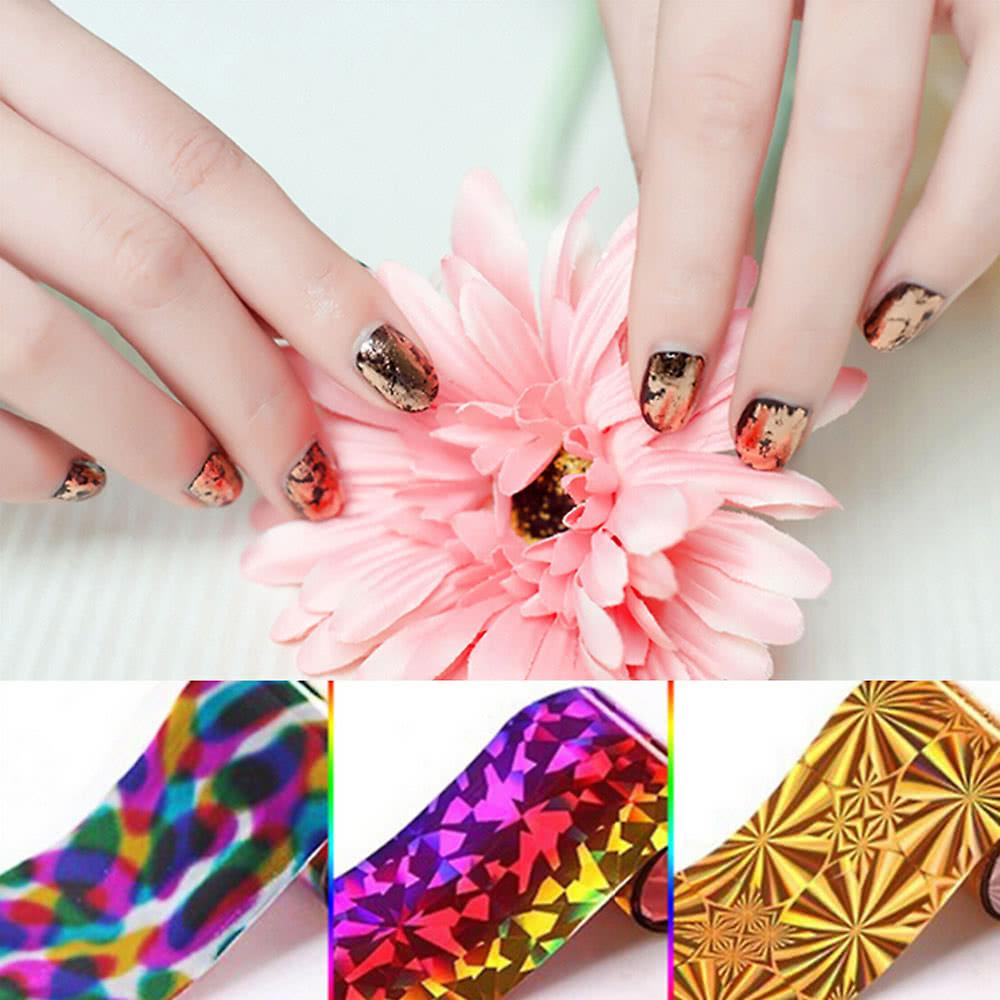 50 Colors Nail Art Transfer Foils Sticker Beauty Star Design Nail Polish DIY Nail Tips Decorations Accessories