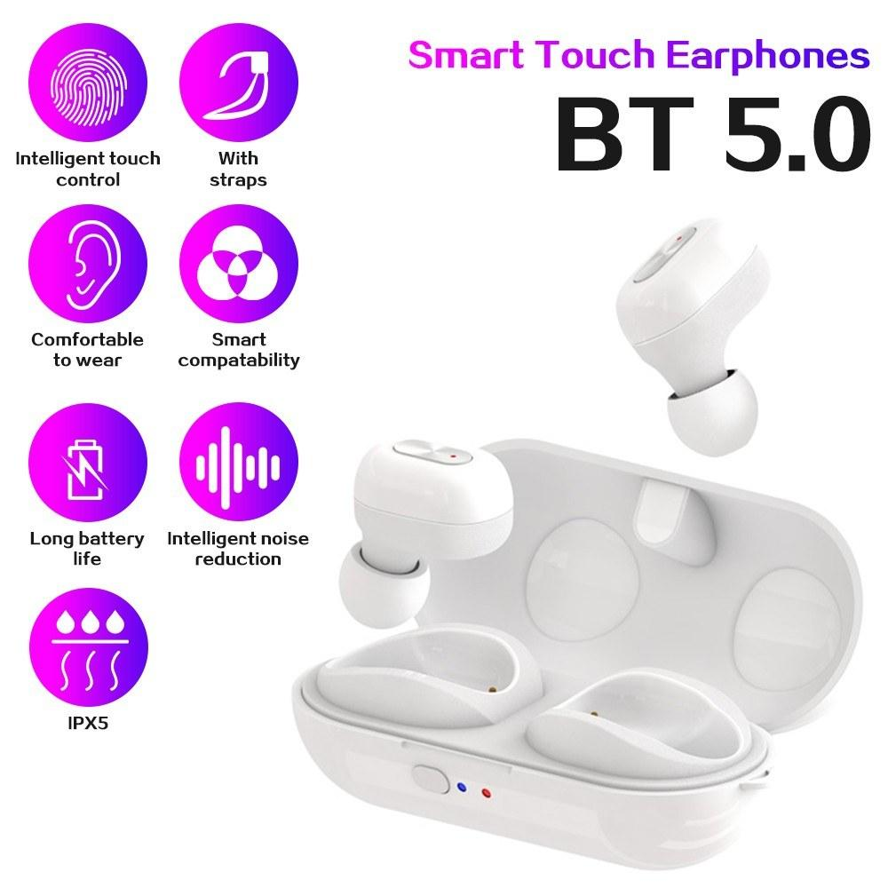TWS-N9 Sports Earphones Stereo Wire-less BT5.0 Earbuds Headphones in-Ear Headsets with 300mAh Rechargeable Charg-ing Box Supporting Wire-less Charge Compatible with Android / iOS