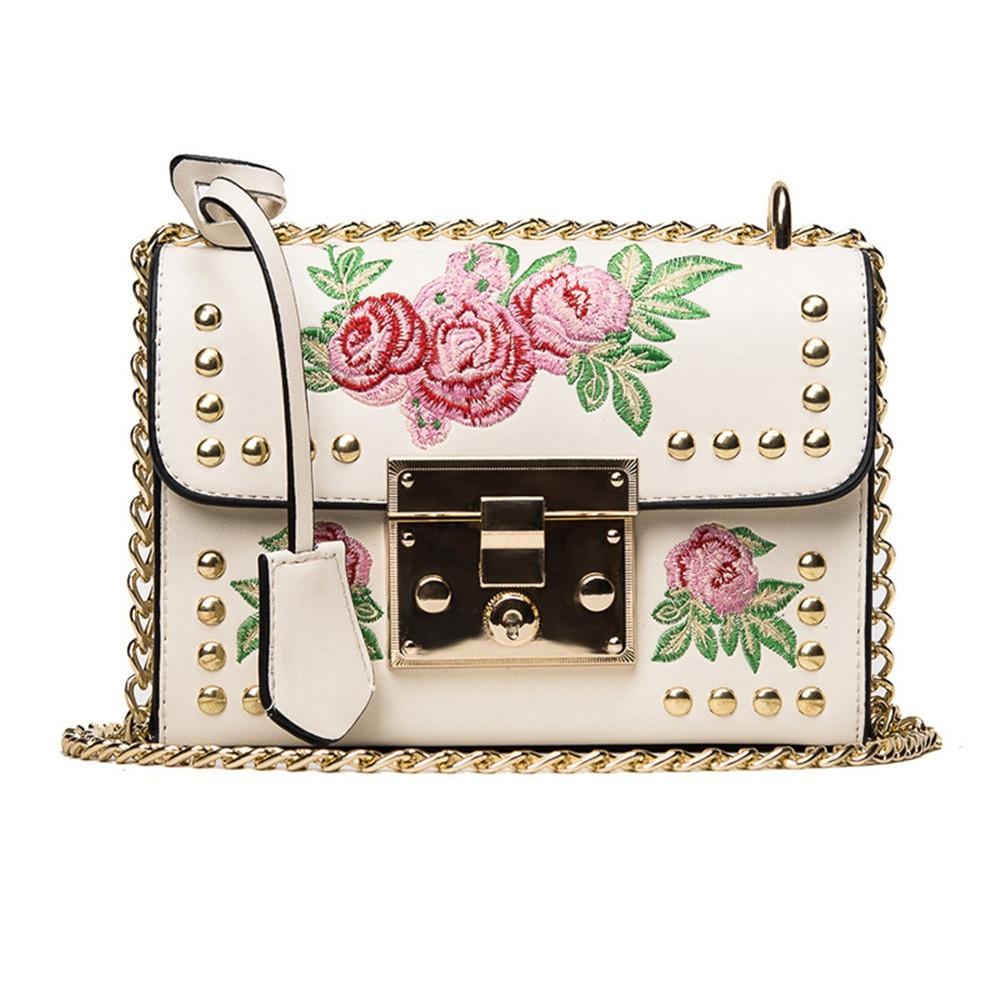 Women Embroidery Flower Shoulder Bag Designer PU Leather Fashion Ladies Rivet Messenger Bags