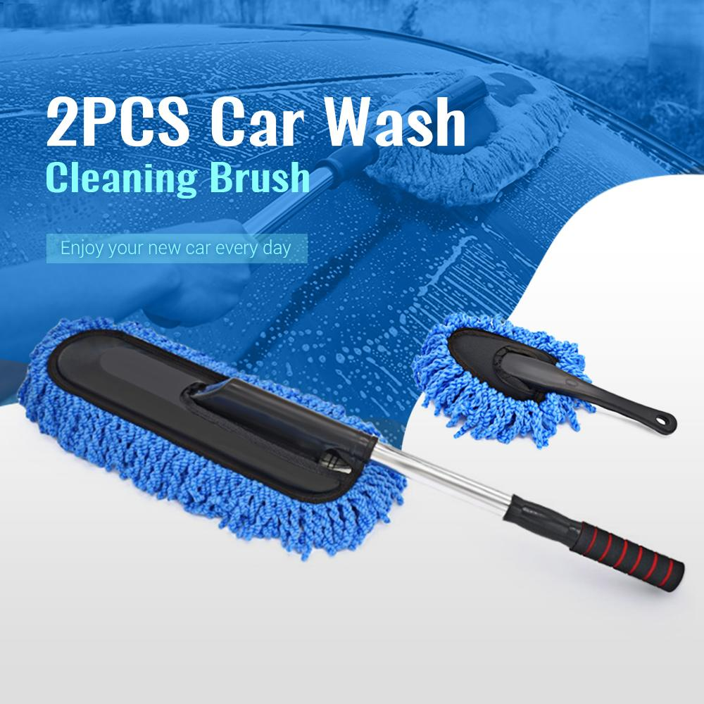 2PCS Car Wash Cleaning Brush Duster Mop Microfiber Telescoping Dusting Tool