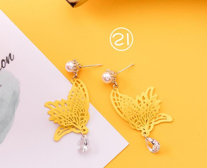 Sweet summer series earrings girl heart orange orange earrings long personality temperament super fairy earrings