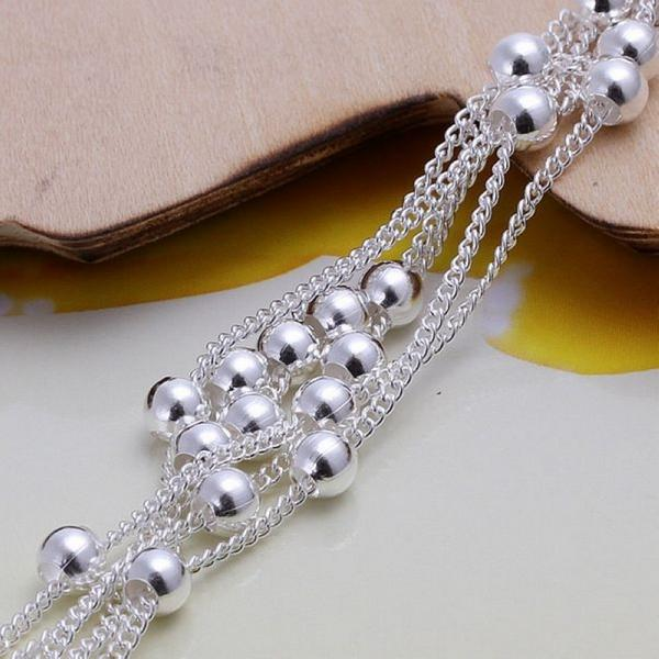 Six Thread Bead Bracelet Chain Bracelet Globe Silver Ornaments