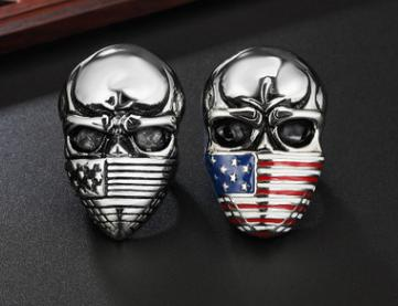 European and American personality retro masked flag men's skull titanium steel ring