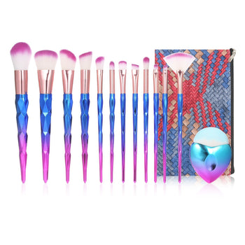 13Pcs Makeup Brushes Set with Bag Synthetic Hair Foundation Powder Eye Cosmetic Brushes