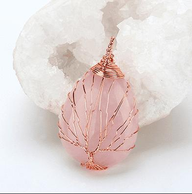 Rose Gold Winding Water Drop Necklace