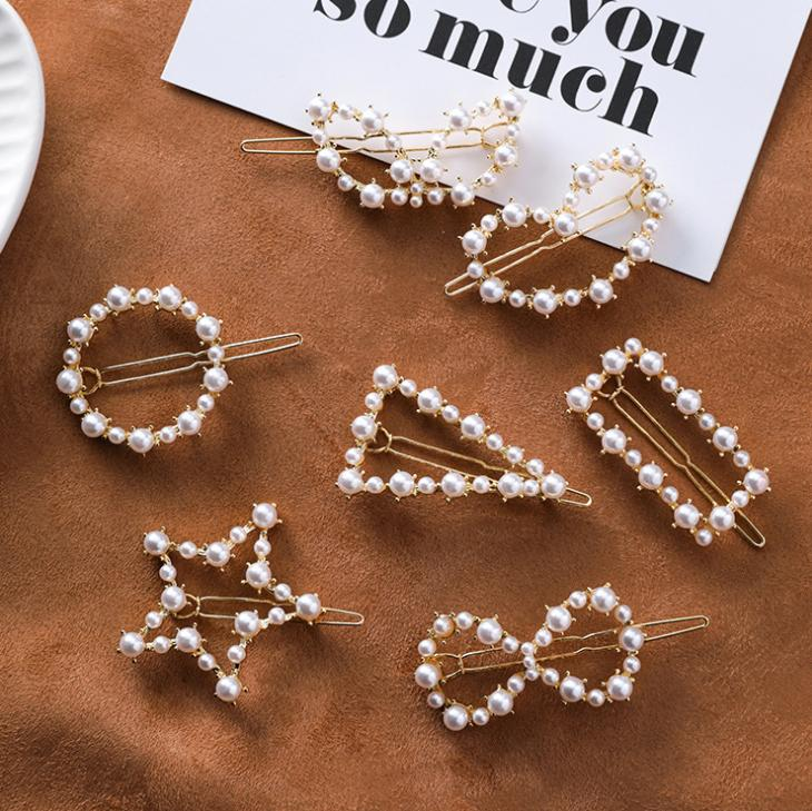 Japan and South Korea simple love circle a word clip five-pointed star triangle geometry pearl hairpin bangs clip