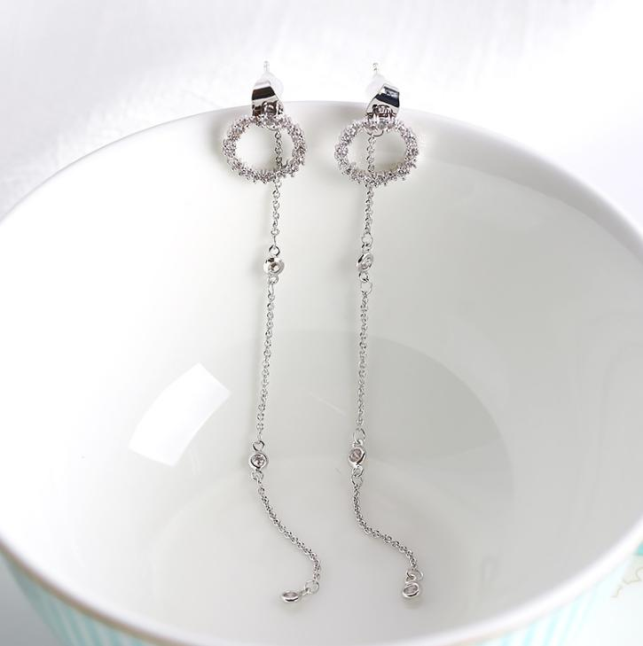 925 silver needle temperament flower long tassel earrings snowflake geometric zircon earrings