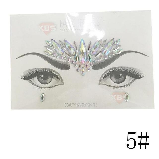 Temporary Face Stickers Easy To Operate Face Gems Rhinestone Temporary Tattoo Fashion Diy Face Stickers Party Body Glitter Stick