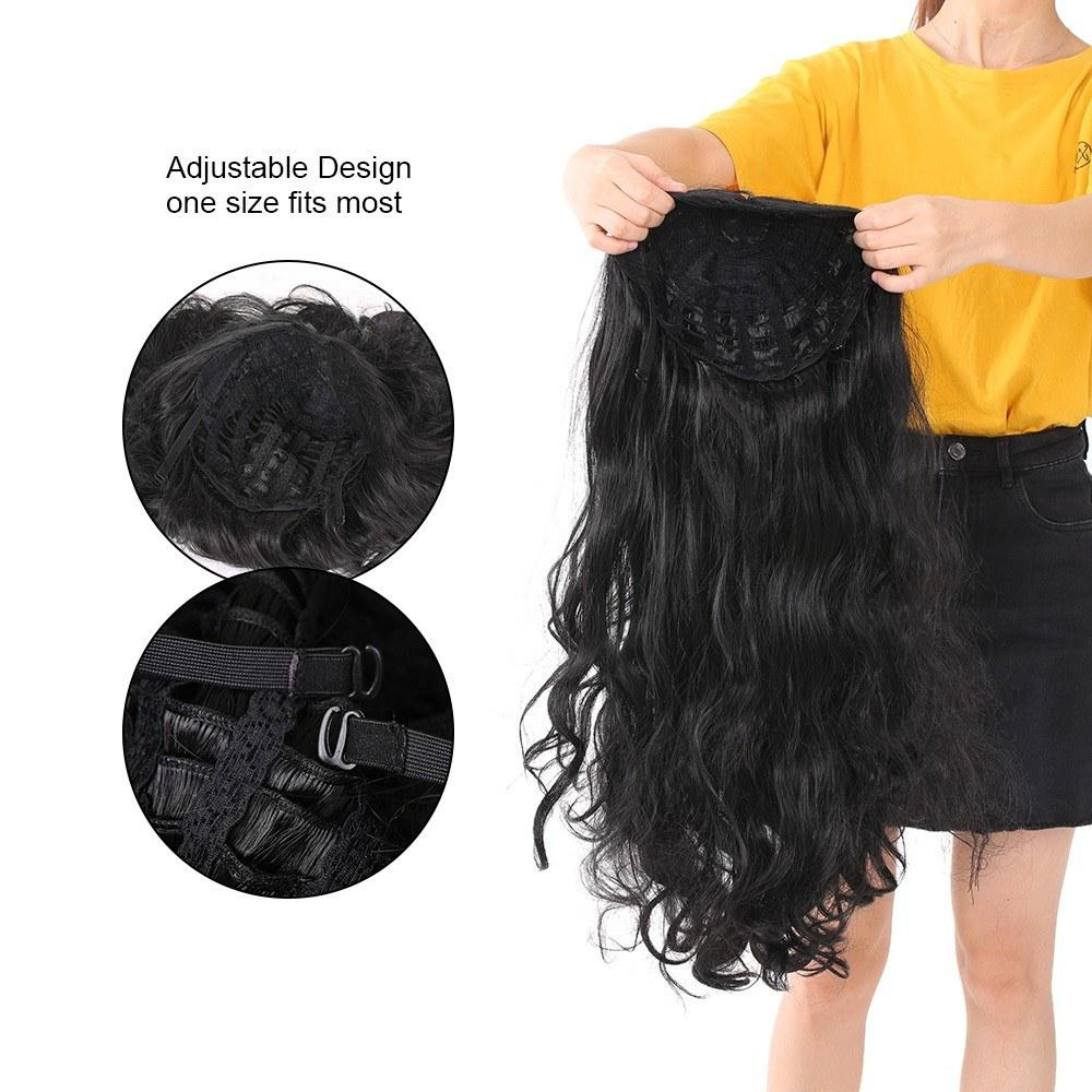Synthetic Fiber Hair Wigs for Women Hair Styling High Temperature Heat Resistant 28 Inch Hair Wig Black with Wig Cap