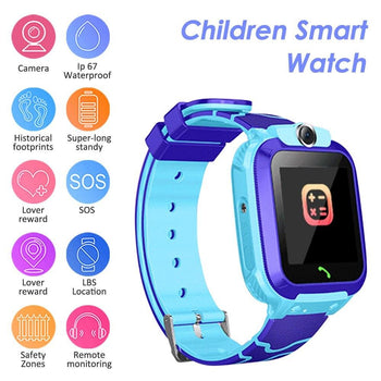 "S12A Multifunctional Kids Children Smart Watch Tracker Intelligent Band Sensitive 1.44"" Touch Screen Compatible for Android/ IOS Phone System Chat Call Camera Alarm Clock LBS Positioning IP67 Water Resistance for Present Gift"