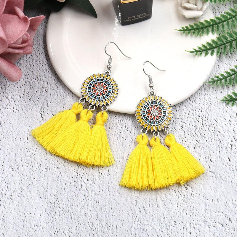 Sun Flower Tassel Earrings