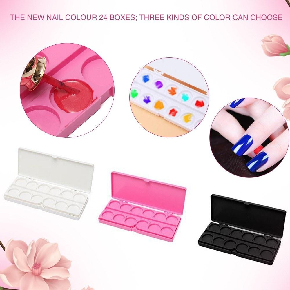 24 Grids Paint Palette Nail Art Painting Supplies Color Palette Drawing Color Painting Glue Palettes Tools