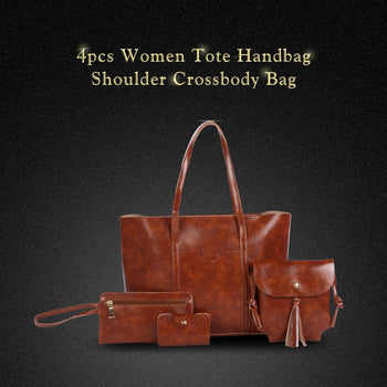 4pcs Women Tote Handbag Shoulder Crossbody Bag