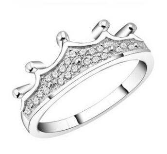 Princess Queen Korean ring ring simulation diamond ring micro-inlaid zirconium diamond luxury crown crown female models