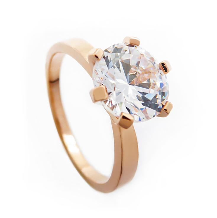 Still classic high simulation six-claw ring Foreign trade personality Ms. Zircon explosion single diamond ring jewelry