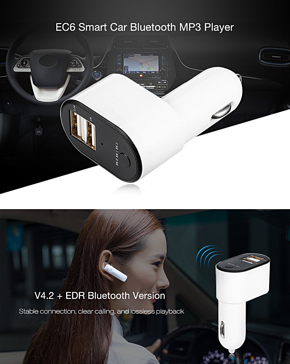 EC6 Car Charger Bluetooth MP3 Player FM Transmitter