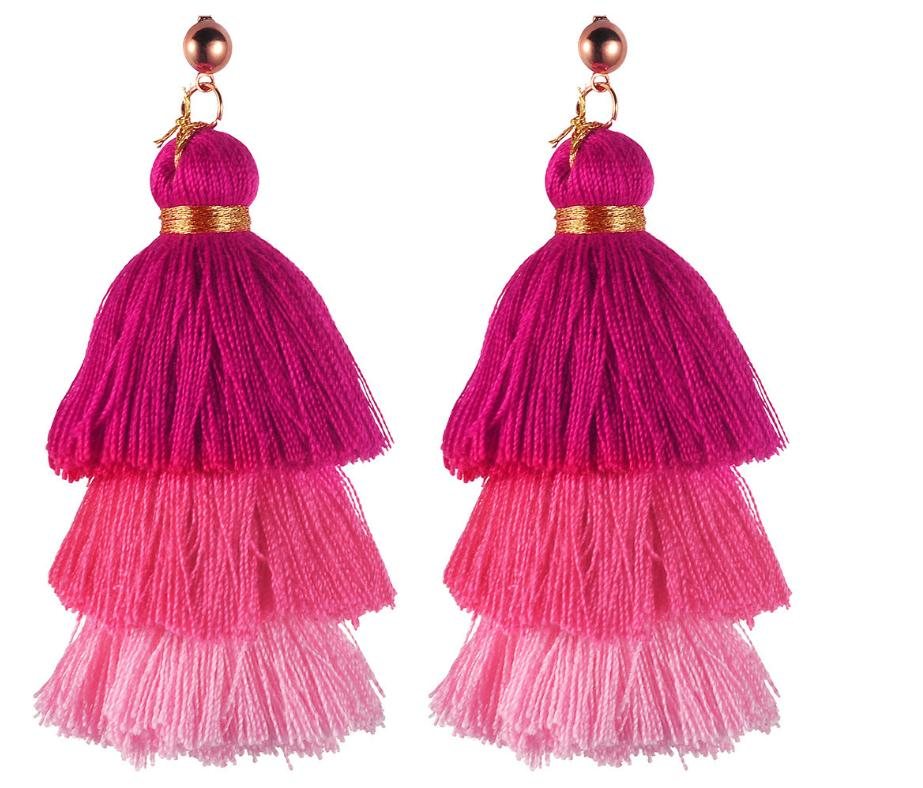Cotton tassel three-layer gradient color tassel earrings earrings
