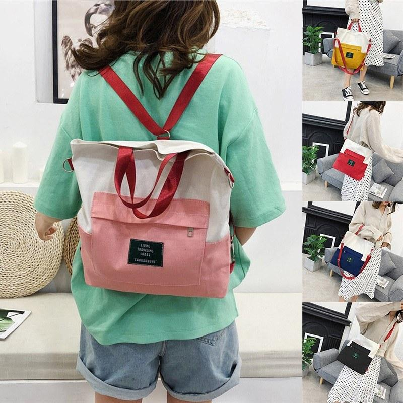 Women Handbag Canvas Color Block LIVING TRAVELING SHARE Letters Zipper Large Capacity Multifunction Shoulder Bag