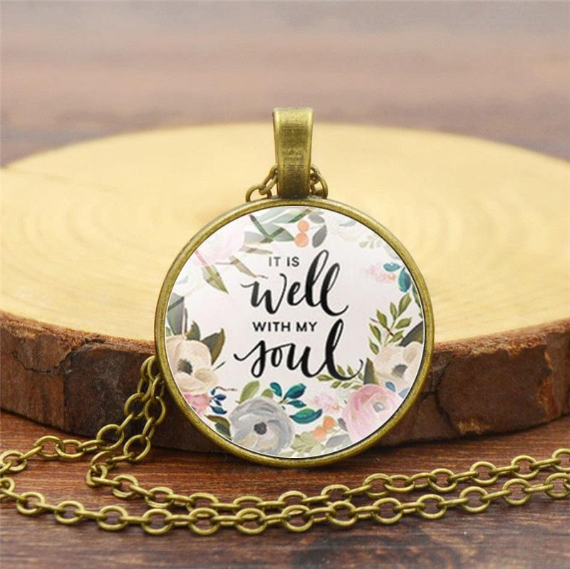 It is well with MY Soul Time Gemstone Necklace Retro Sweater Chain
