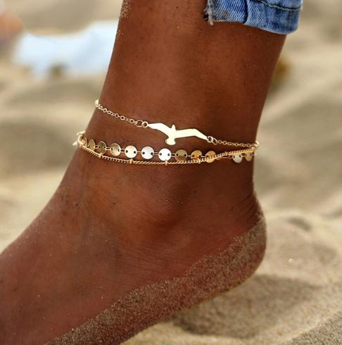 AY Bohemian Crystal Beads Anklet Set For Women Moon Pendant Bracelet on the Leg Ankle Strap Girl Summer Anklet Foot Jewelry