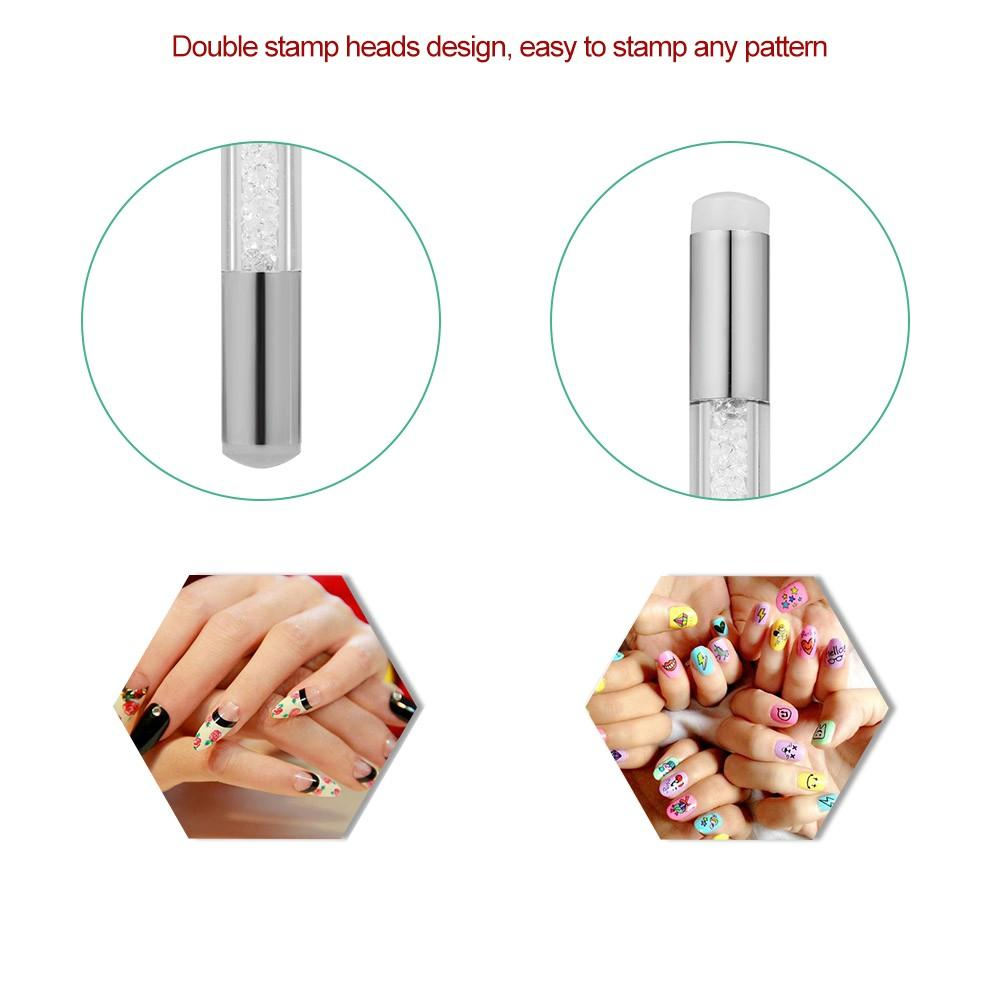Double Stamper Heads Nail Art Brush Pen Painting Dotting Tips DIY Rhinestone Handle Manicure Tool