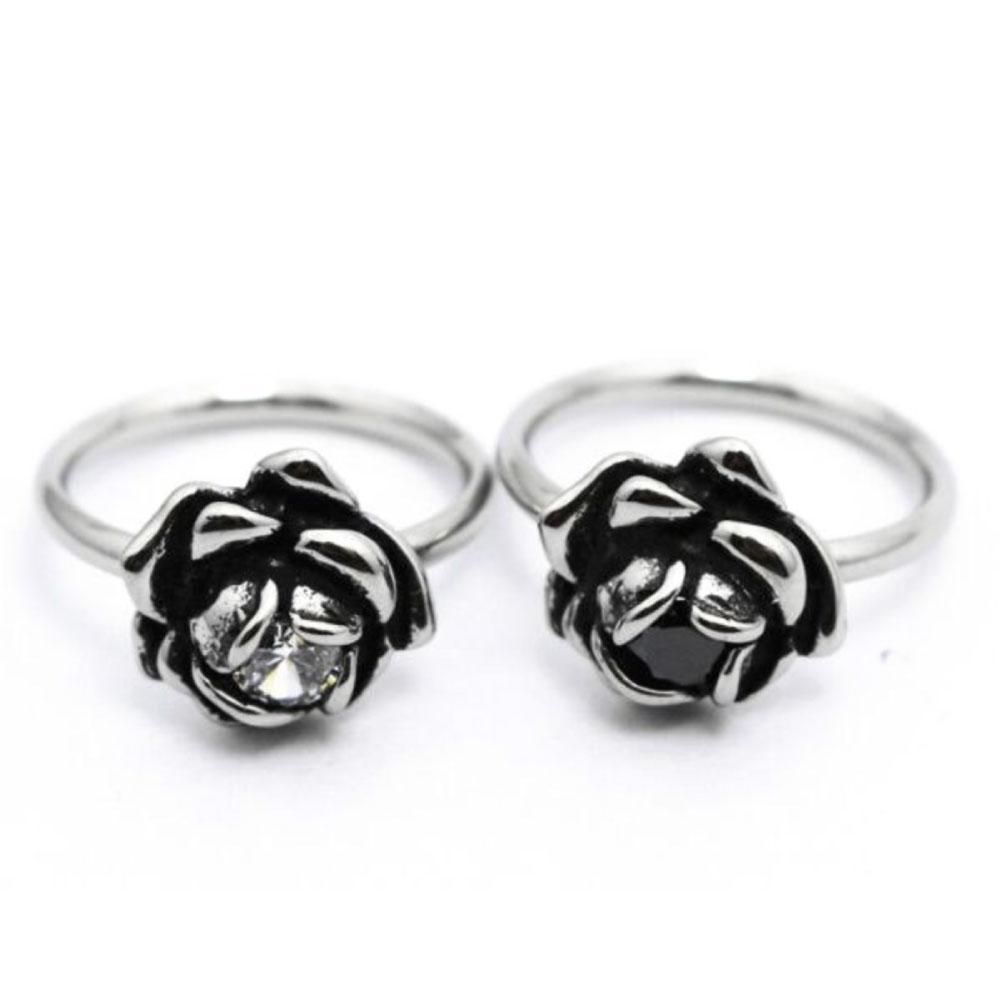 Black and White Rose Stone Ring