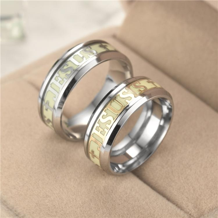 New European and American fashion luminous Christians Jesus ring personality original fluorescent jewelry source manufacturers wholesale