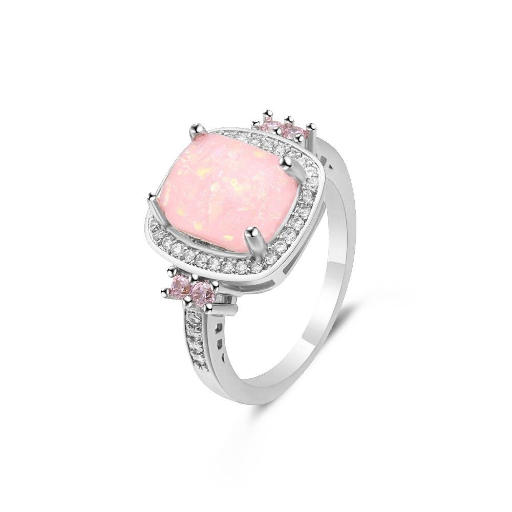 Crystal Pink Fire Opal Ring
