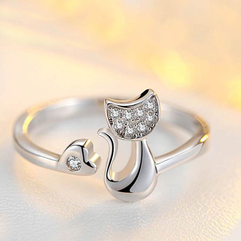 Crystal Kitten Ring