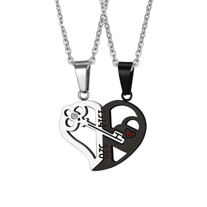 Couples Heart Key Crystal Pendant