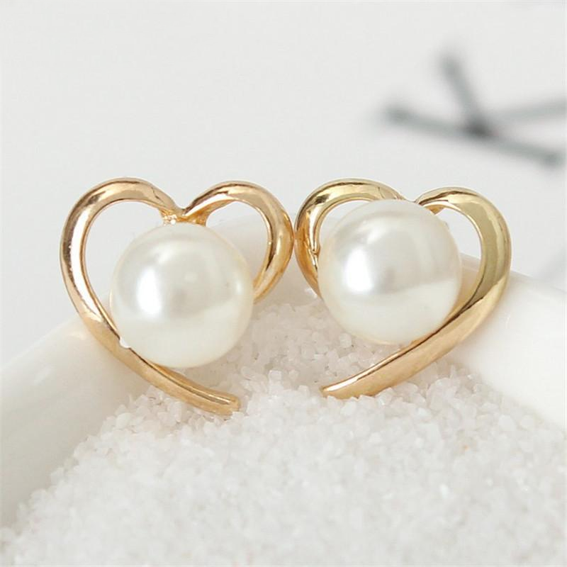 Heart & Pearl Stud Earrings