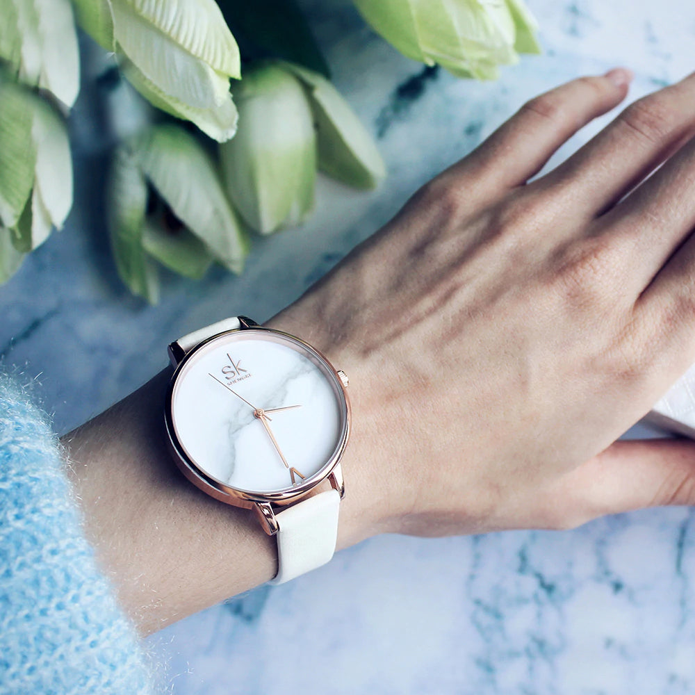 Ladies Quartz Marble Dial Watch