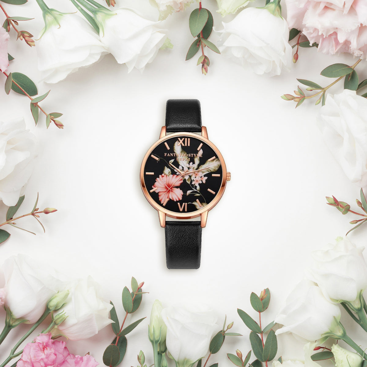 Ladies Leather Strap Floral Watch