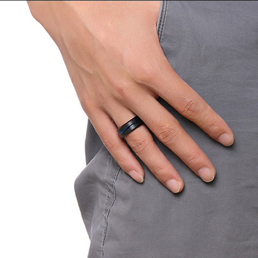 Black Tungsten Carbide Ring with Blue Carbon Fiber Groove