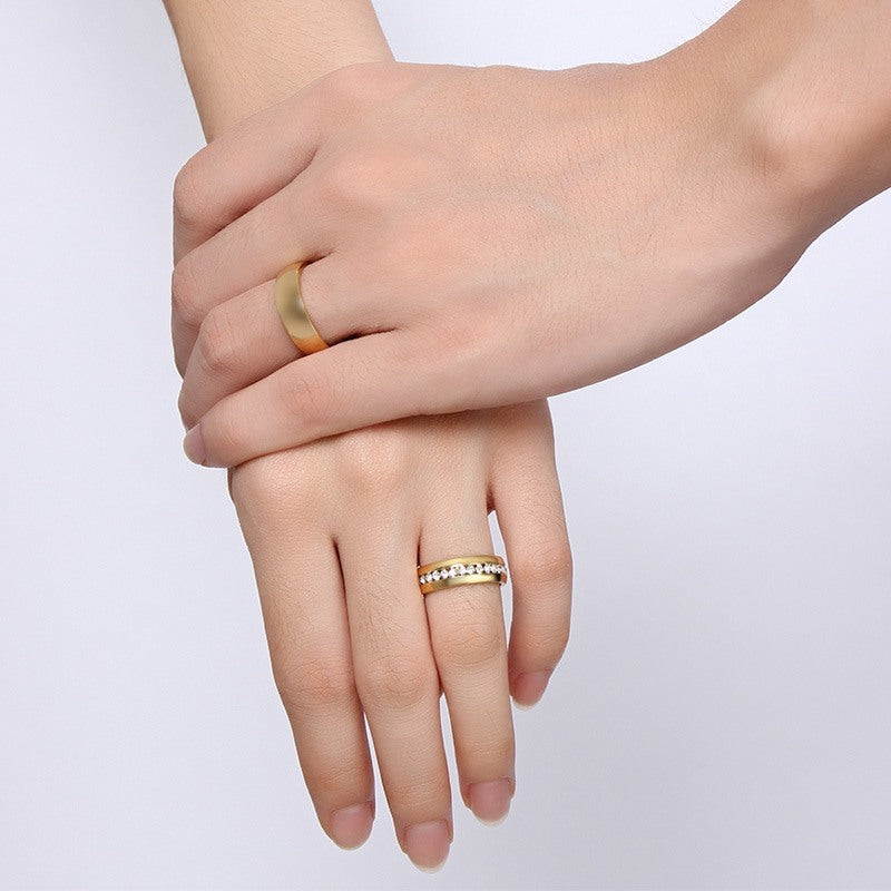 Crystal-encrusted Gold Band Ring