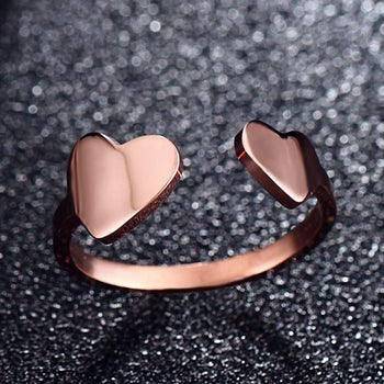 Adjustable Double Heart Rings