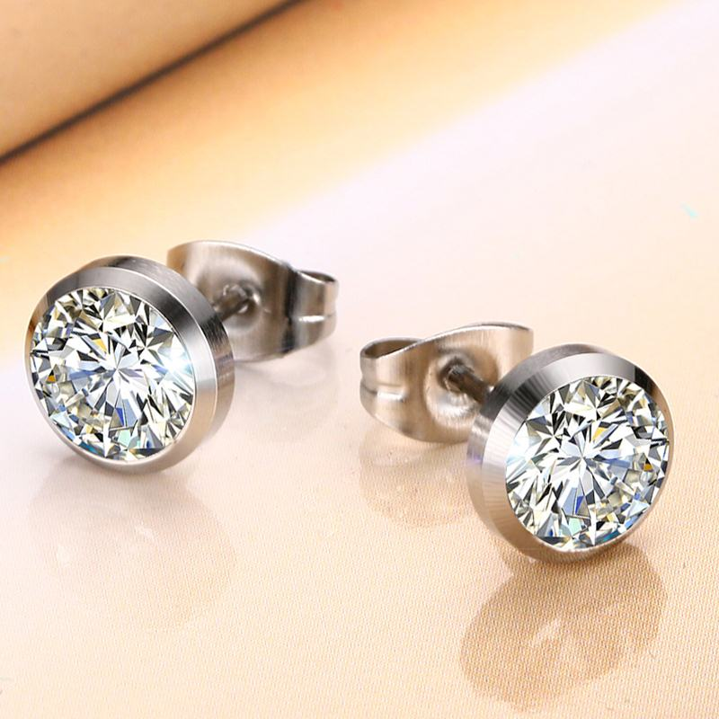 Deep Set Cubic Zirconia Stud Earrings