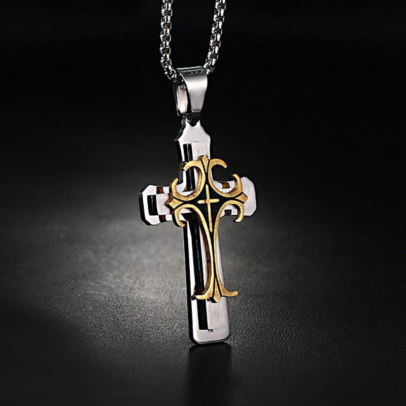 Bold Layered Cross Pendant Necklace