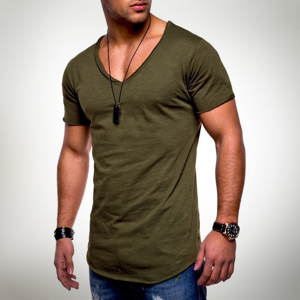 Pure Color Cotton T-shirt For Men