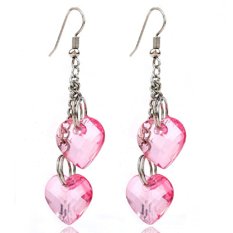 Crystal Heart Long Dangle Earrings